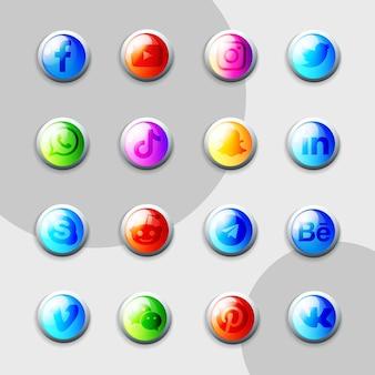 Pack de collection 3d d'icônes de médias sociaux