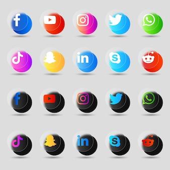 Pack de collection 3d de logos et icônes de médias sociaux