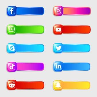 Pack de collection d'étiquettes d'icônes 3d de médias sociaux
