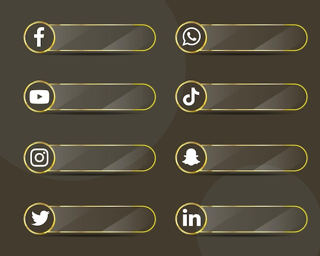 Pack de collection d'étiquettes en verre d'icônes de médias sociaux