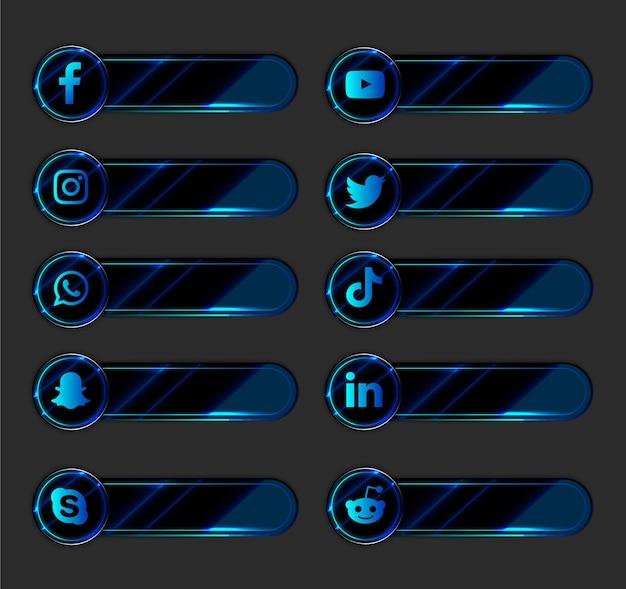 Pack de collection d'icônes et d'étiquettes de médias sociaux 3d