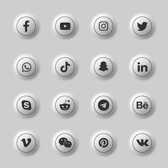Pack de collection d'icônes et de logos de médias sociaux 3d