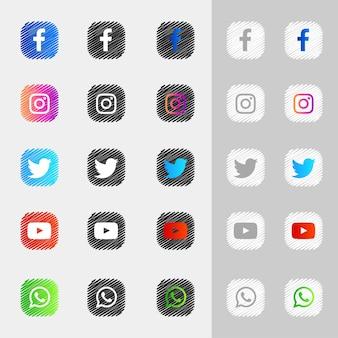 Pack de collection d'icônes de médias sociaux