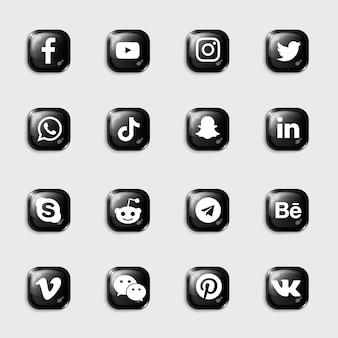 Pack de collection d'icônes noires 3d de médias sociaux
