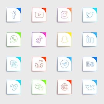 Pack de collection d'icônes plates de médias sociaux