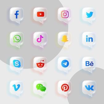 Pack de collection d'icônes transparentes souples de médias sociaux