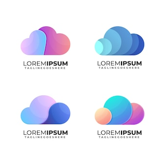 Pack de collection de logos en nuage