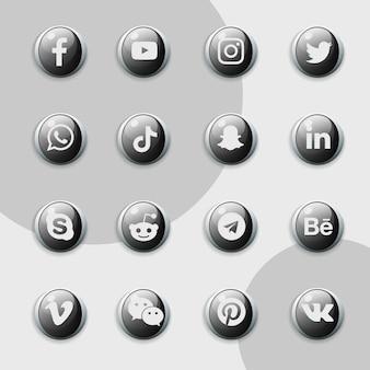 Pack de collection noir d'icônes de médias sociaux