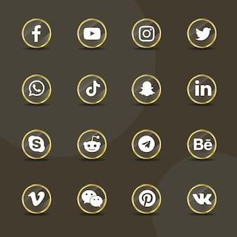 Pack de collection de verre doré transparent icônes de médias sociaux
