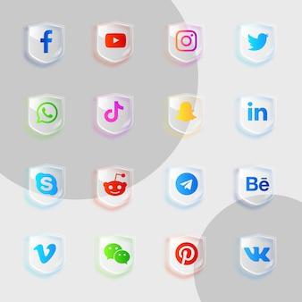 Pack de collection de verre d'icônes de médias sociaux