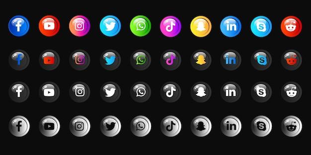 Pack de collections d'icônes de médias sociaux