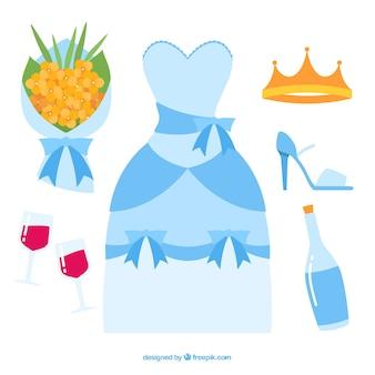 Pack coloré d'accessoires de mariage