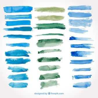Pack coloré de coups d'aquarelle