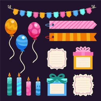 Pack coloré d'éléments de scrapbook d'anniversaire