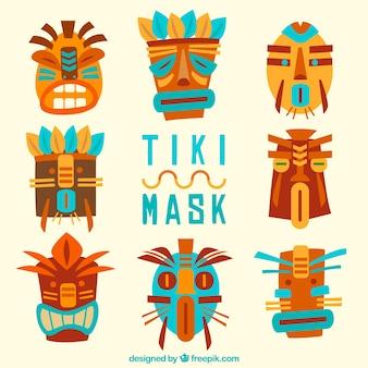 Pack coloré de masques polynésiens cool