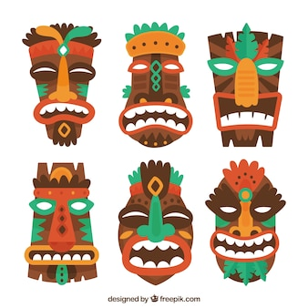 Pack coloré de masques polynesiens