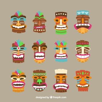 Pack complet de masques tiki colorés