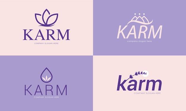 Pack de concept de logo de fleur abstraite pour les cosmétiques ou le spa en vecteur