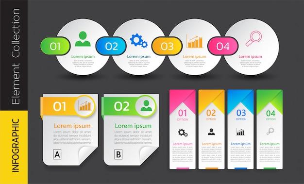 Pack de conception de modèle d'infographie coloré