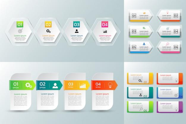 Pack de conception de modèle d'infographie.