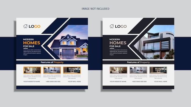 Pack de conception de publication de médias sociaux immobiliers sur fond blanc et noir.