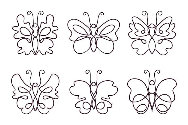 Pack de contour de papillon dessiné à la main