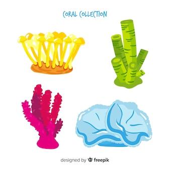 Pack de coraux colorés dessinés à la main
