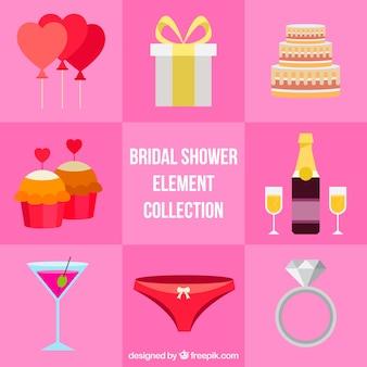 Pack de couleur des articles de douche de mariée fantastiques design plat