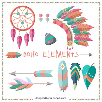 Pack de couleur des grands éléments boho en design plat