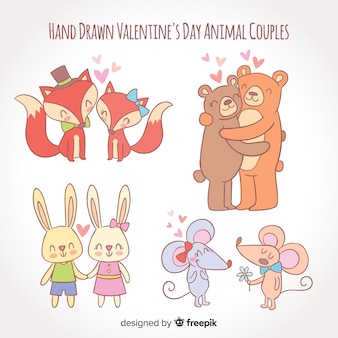 Pack de couple animal saint valentin dessiné à la main
