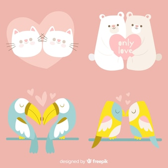 Pack de couple d'animaux de la saint valentin dessinés à la main de couleur pastel