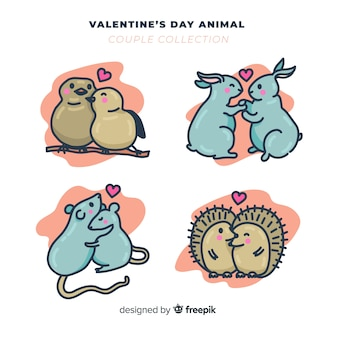 Pack de couple d'animaux de saint valentin dessinés à la main