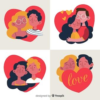 Pack de couple saint valentin dessinés à la main