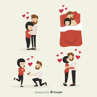 Pack de couple saint valentin dessinés à la main