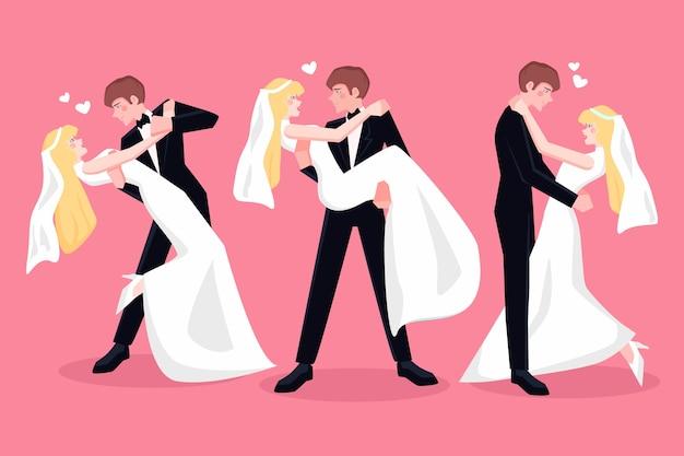 Pack de couples de mariage dessinés à la main