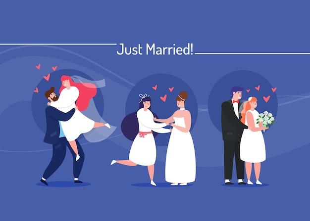 Pack de couples de mariage plat