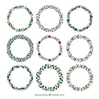 Pack de couronnes rétro de noël dessinés à la main