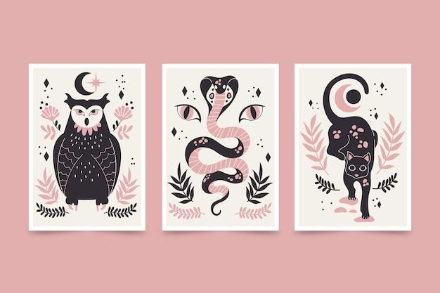 Pack de couverture d'animaux sauvages dessinés à la main