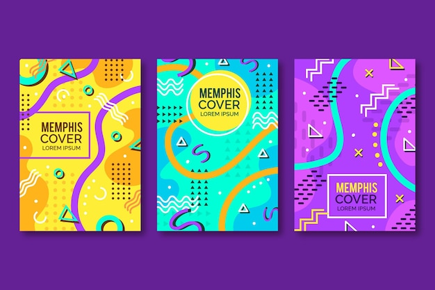 Pack de couverture de conception abstraite de memphis