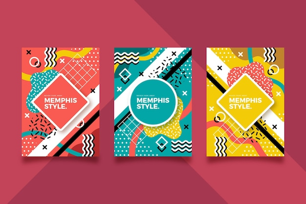 Pack de couverture design coloré memphis