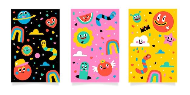 Pack de couverture de dessin animé à la mode dessiné à la main