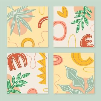 Pack de couverture de formes abstraites de style dessinés à la main