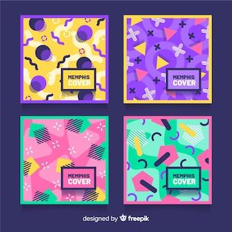Pack de couvertures colorées de style memphis