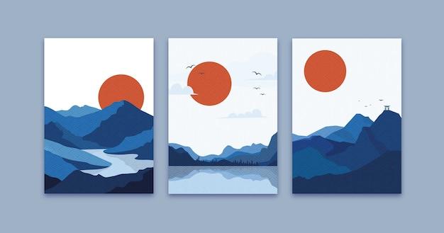 Pack de couvertures japonaises colorées minimales