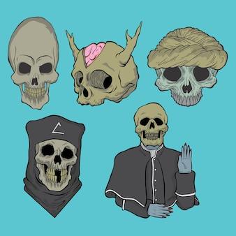 Pack de crâne. illustrations de conception doodle vectoriel style dessinés à la main.