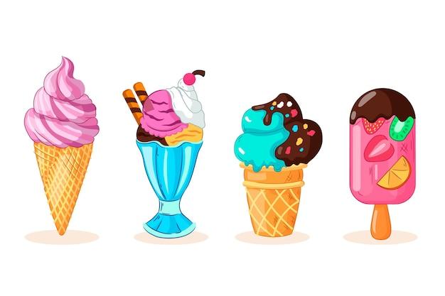 Pack de crème glacée dessiné à la main