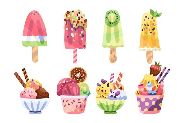 Pack de crème glacée savoureuse dessiné à la main