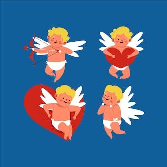 Pack de cupidons dessinés pour la saint-valentin