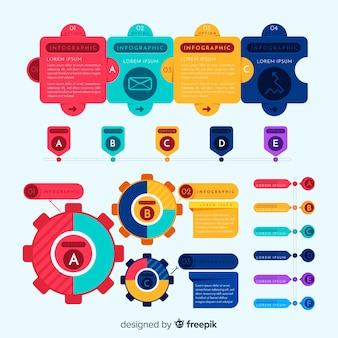 Pack d'éléments infographiques colorés