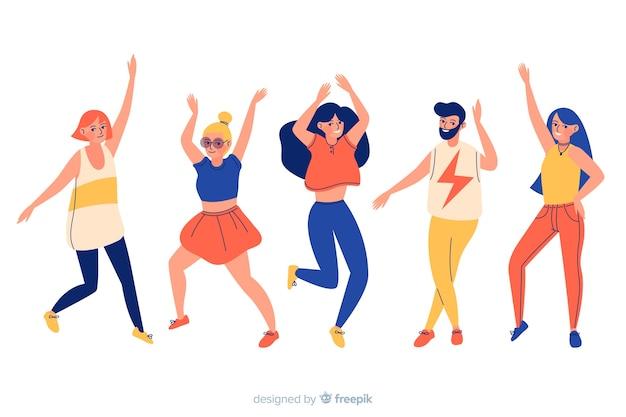 Pack de danse personnes dessinées à la main
